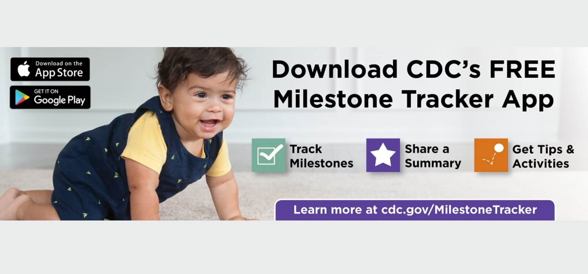 Download the CDC's free milestone tracker app