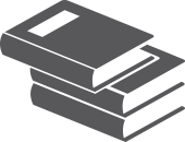 Icon of books stacked to represent resources
